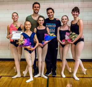 Ballet winners with instructors: left to right students: Gabriella Vidano, Nicole Norman, Emma Michaux, Olivia Daugherty, Emma Capen instructors: Luciano Domenica and Yosvani Ramos of the Colorado Ballet