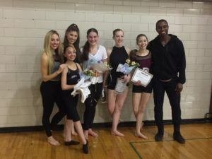 Jazz winners with instructors: left to right students: Trinity Isadore, Ashlyn Burnett, Brianna Skaggs, and Natalie Unger instructors: Zoey Anderson, Deidre Rogan, Justus Whitfield of Parsons Dance